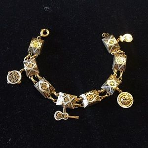 Vintage Damascene Spain charm bracelet